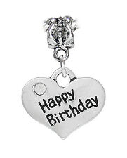 Happy Birthday Rhinestone Heart Present Gift Dangle Bead for Euro Charm Bracelet