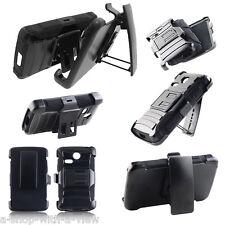 For LG Sunrise L15G Lucky L16C Black Armor Hybrid Rugged Case Cover Holster Clip