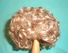 "doll wig/ human hair 12"" to 12.5"" brown/ curly hair"