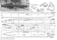 "Model Boat PLANS Scale 1/144 31 3/4"" Radio Control destroyer Plan & Notes on Cd"