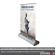 Espositore ROLL UP BANNER MINI display A4 roll-up autoavvolgente PVC stampato