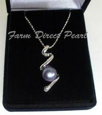 "Genuine 9mm Black Scribble Freshwater Pearl Pendant Necklace 18"" Inch Cultured"