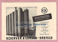 Krefeld, publicité 1952 koerver & Lersch haute pression-réservoir pétrole-charbon-chimie