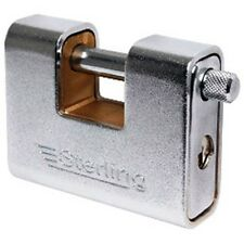 STERLING 81MM ARMOURED STEEL HIGH SECURITY CLOSED SHACKLE SHUTTER PADLOCK ASP180