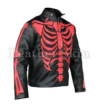 Men Black Skeleton Biker Motorcycle Racing Genuine Leather Jacket Red Skeleton
