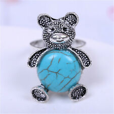 Stylish Jewelry Sky Blue Crystal Tibetan Silver Turquoise panda Ring Adjustable