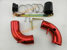 """Red Universal Cold Air Intake Tube Aluminum Red 2.25"""" Inlet Cold/Hot Pipe"""
