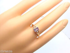 NATURAL ALEXANDRITE TWO OVALS .44 TCW and DIAMONDS 14K GOLD RING