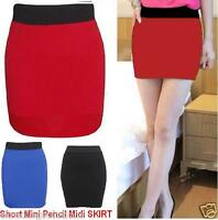 WOMENS PLAIN JERSEY MINI BODYCON STRETCH LADIES WORK SHORT SKIRT SIZE 8-14 *MnWg