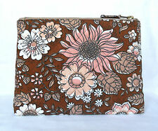 1970's Retro Vintage Fabric Large Make Up Bag Clutch Bag Hand-Quilted Brown NEW