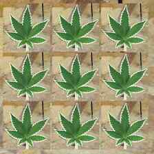 Realistic photo marijuana cannabis weed leaf sticker decal Mini size pack of 9