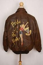 Vtg AVIREX A-2 'Pride Of The Yanks' USAAF Flight Leather Jacket L/XL