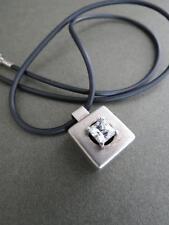 Vintage Modernist Sterling Silver Rock Crystal Quartz Pendant Necklace