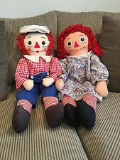 """Vintage pair of Raggedy Ann and Andy 32"""" Knickerbocker Dolls Good Condition"""