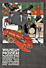 Art Ad Munich delicatessen Wilhelm Mozer Lobster Fine Wines Deco Poster Print