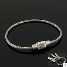 10pcs Stainless Steel Wire Keychain Cable Screw Clasp Key Ring 10cm(4inch) * 2mm