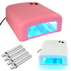 New 36W UV Lamp Light Gel Curing Timer Nail Dryer Polish Pink White + 4 Bulbs UK
