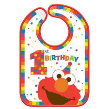 SESAME STREET Elmo Turns One PLASTIC BIRTHDAY BIB ~ Birthday Party Supplies