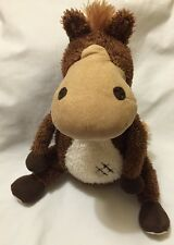 Aurora Brown Horse Sitting Plush Soft Toy Horseshoe Shoe Patch Microfiber Nose