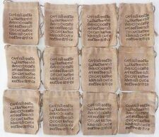 "Lot of 12 BURLAP COFFEE BAGS 5.5"" x 6"" Gunny Sack  NEW  Jute Starwood Bag"