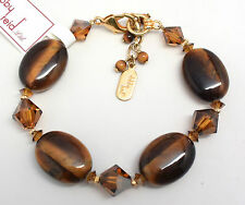 DABBY REID NEW Tiger EYE Swarovski 24 K Gold Plated Bracelet RMB8183G Y25