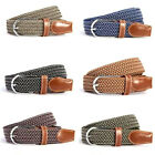 Unisex Men Women Canvas Woven Leather Buckle Elastic Waist Belt Waistband