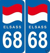 ELSASS 2 Stickers ELSASS 68  style immatriculation auto