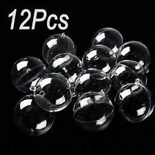 12Pcs MS Clear Plastic Acrylic 60mm Fillable Ball Ornament Creative Crafts
