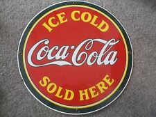 Ande Rooney Coke Porcelain Enamel Advertising Sign Ice Cold Coca-Cola Sold Here
