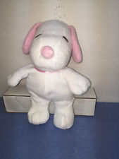 "TY PLUFFIES BABY SNOOPY MUSICAL Peanuts Gang Song WHITE/PK PLUSH 2011 11-12"" VGC"