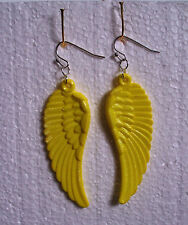 Big Yellow Guardian Angel Wing Dangly Clip-on Earrings - Acrylic