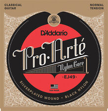 D'Addario EJ49 Pro Arte Black Nylon Classical Guitar Strings - normal tension