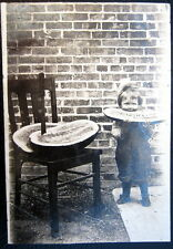 *1900's AMERICANA~LITTLE GIRL EATING WATER MELON BIGGER THAN HER~HUGE KNIFE~RPPC