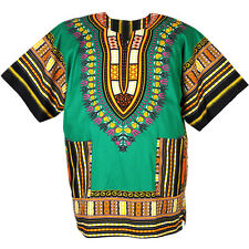 Cotton African Dashiki Mexican Poncho Hippie Boho Shirt Blouse Green ad04t2