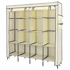 Portable Cupboard Home Shelf Shelves Carbinet Canvas Wardrobe 12 Shelves 4 Side