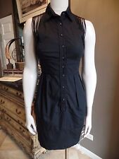NANETTE LEPORE Black Fringe Detail 100% Cotton Sheath Dress 2