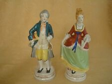 Pair MARUYAMA Occupied Japan Colonial Couple Figurine Colorful Clothes
