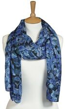 Quintessential 100% Pure Silk larger luxury Scarf 50cmx180cm Secret Garden Blue