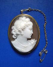 Stunning Fine Quality Victorian Cameo Brooch, Sterling 925 Silver Mount + Gold?