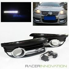 For 2006-2010 VW Jetta Fog Driving Lamps Cover w/ LED DRL Daytime Running Lights