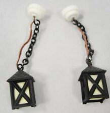 Pair Vintage Dollhouse Miniature Craftsman Black Electric Pendant Light Fixtures