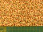 red berries on vines on yellow cotton quilt fabric BTHY QA YEL097