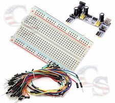 Mini Prototype test board deck & k2 Power Supply & 65 pcs Breadboard Wire cable