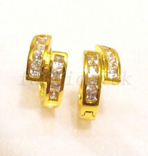 Women 24K Yellow Gold Plated Clear CZ Cubic Birthday Snap Closure Hoops Earrings