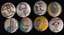 "R Crumb 1"" Pins Buttons Badges Set of 8 Underground Comics Fritz the Cat Zap"