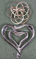 Vtg Jewelry LOT OF 2 Brooch Pin Gold Silver Tone Metal Heart Design Beautiful...