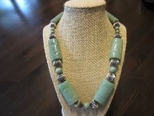 """CHINESE VTG CARVED Celadon SHOU JADE BEADED 925 SILVER CLASP Chunky NECKLACE 21"""""""