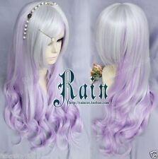 NEW Silver gradient purple fantasy purple  Harajuku Wigs+wig cap