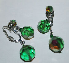 Costume Fashion Jewelry Earrings Clip-On Bead Dangles Emerald Green Silver VTG