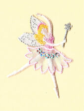 Fairy In Pink W/ Wand Metallic Embroidery/Sequins Iron On Applique Patch
